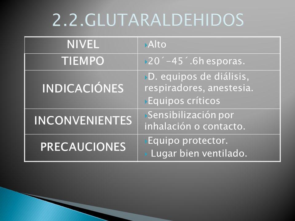 2.2.GLUTARALDEHIDOS NIVEL TIEMPO INDICACIÓNES INCONVENIENTES