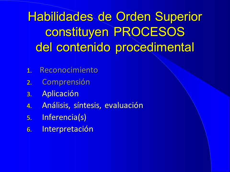 Habilidades de Orden Superior constituyen PROCESOS del contenido procedimental