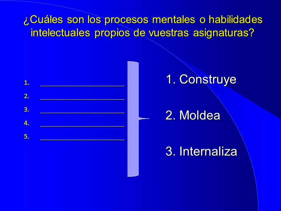 1. Construye 2. Moldea 3. Internaliza