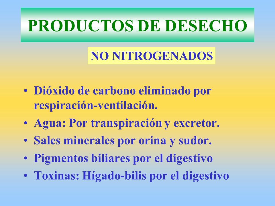 PRODUCTOS DE DESECHO NO NITROGENADOS