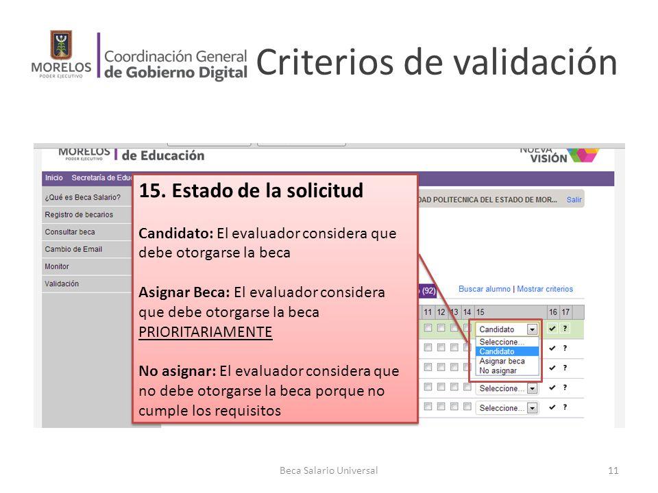 Criterios de validación