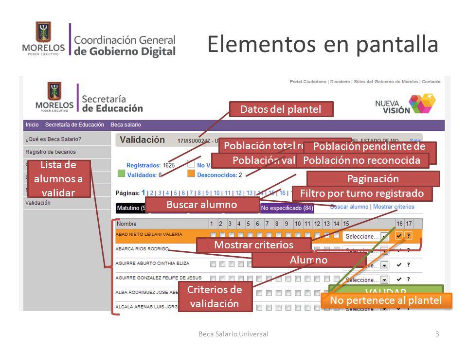 Elementos en pantalla Datos del plantel Población total registrada