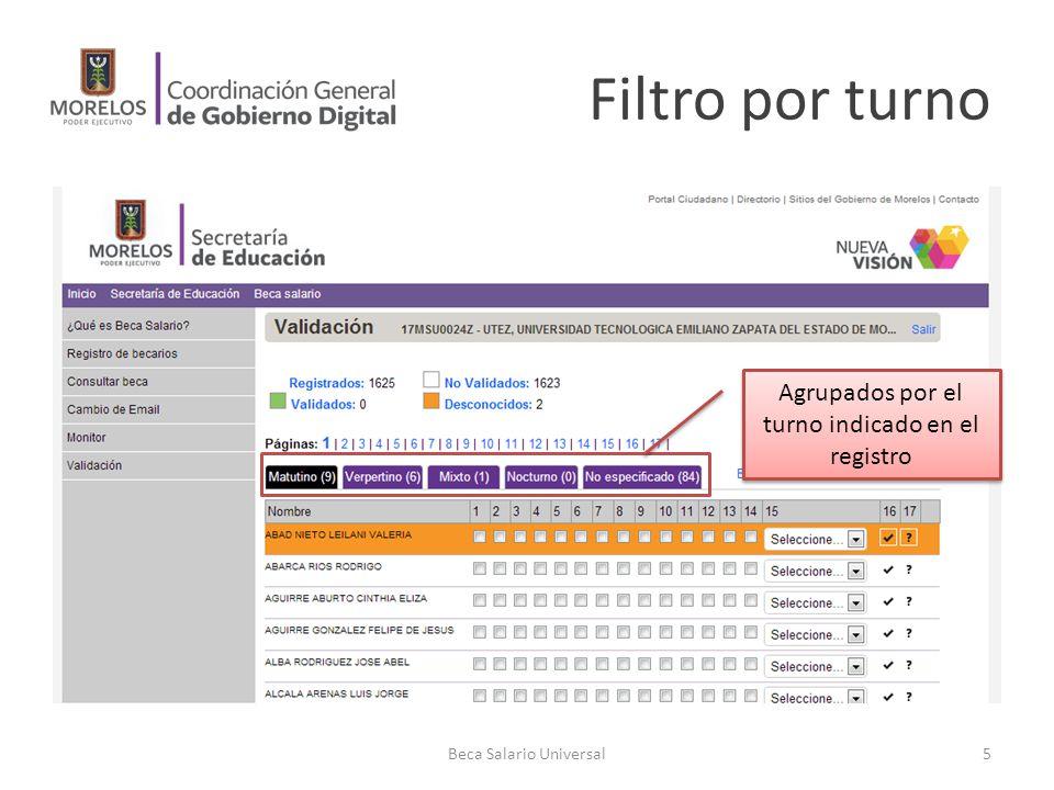 Filtro por turno Agrupados por el turno indicado en el registro