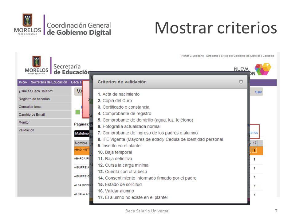 Mostrar criterios Se desea saber el significado de los índices en las columnas.