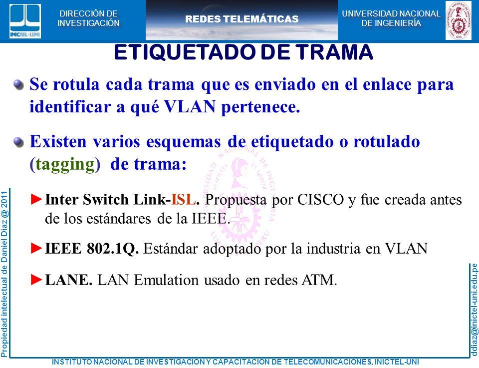 ETIQUETADO DE TRAMA Se rotula cada trama que es enviado en el enlace para. identificar a qué VLAN pertenece.