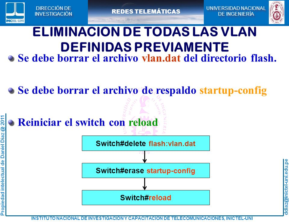 ELIMINACION DE TODAS LAS VLAN DEFINIDAS PREVIAMENTE