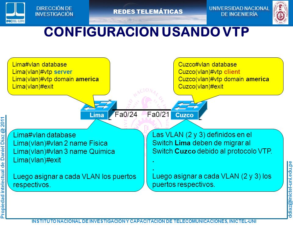 CONFIGURACION USANDO VTP