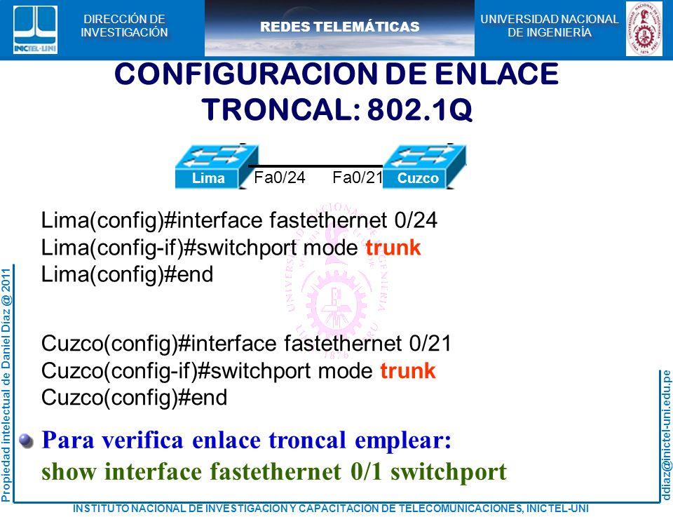 CONFIGURACION DE ENLACE TRONCAL: 802.1Q