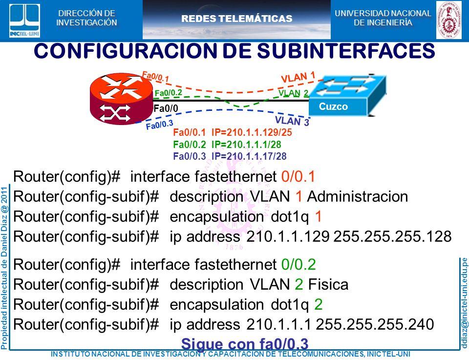CONFIGURACION DE SUBINTERFACES