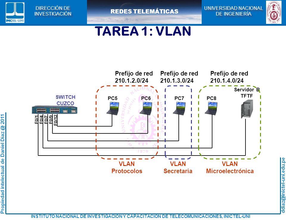 TAREA 1: VLAN Prefijo de red 210.1.2.0/24 VLAN Protocolos