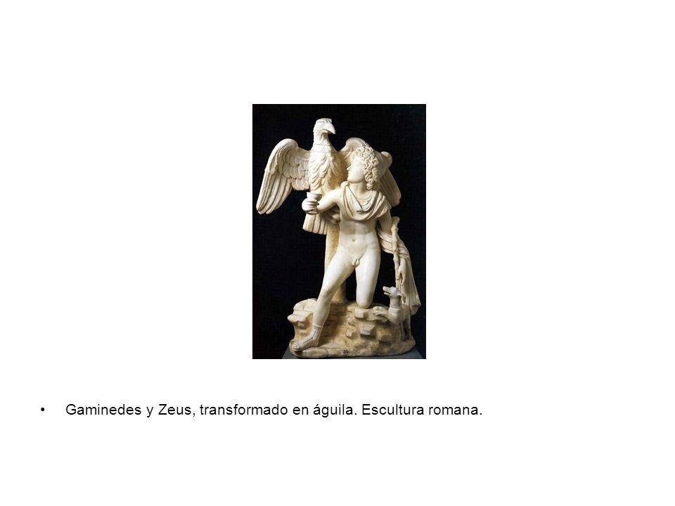 Gaminedes y Zeus, transformado en águila. Escultura romana.