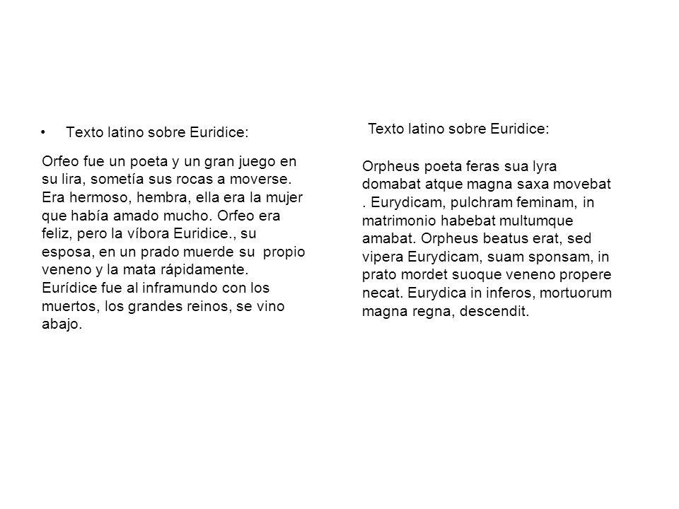 Texto latino sobre Euridice: