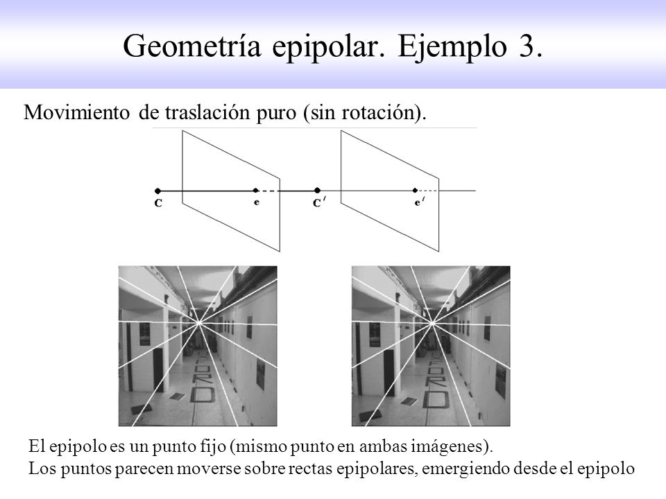 Geometría epipolar. Ejemplo 3.