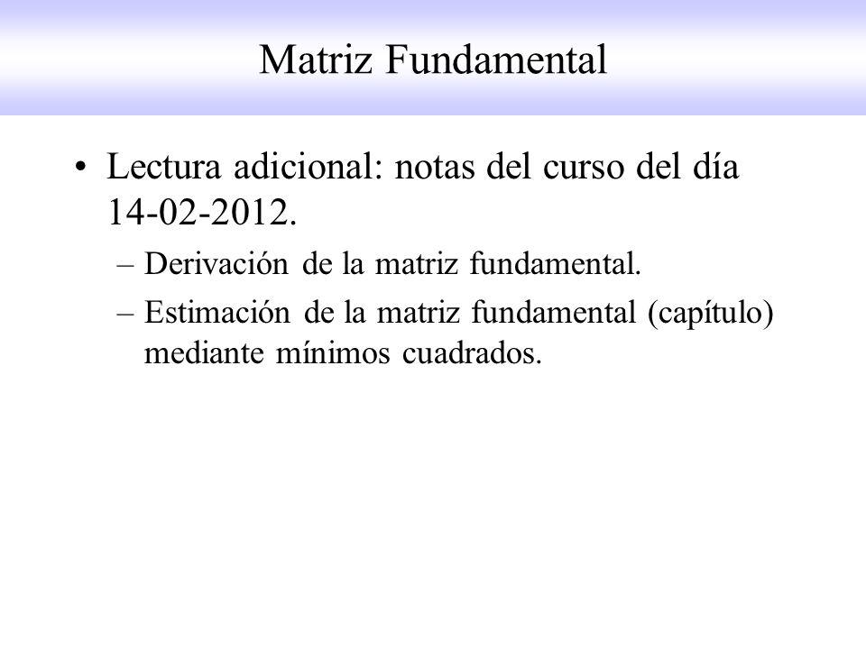 Matriz Fundamental Lectura adicional: notas del curso del día 14-02-2012. Derivación de la matriz fundamental.