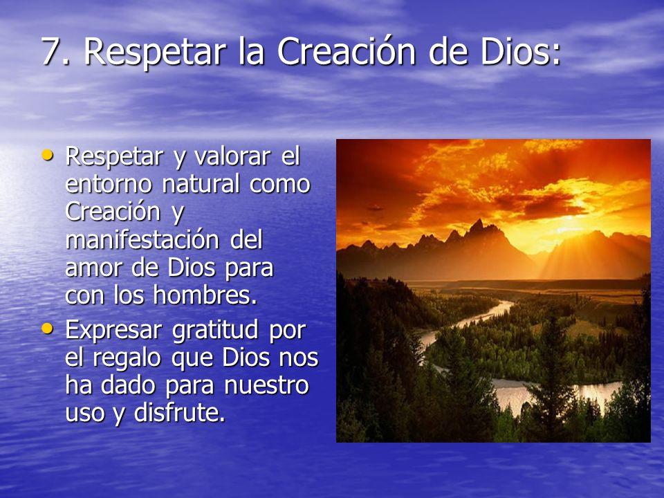 7. Respetar la Creación de Dios: