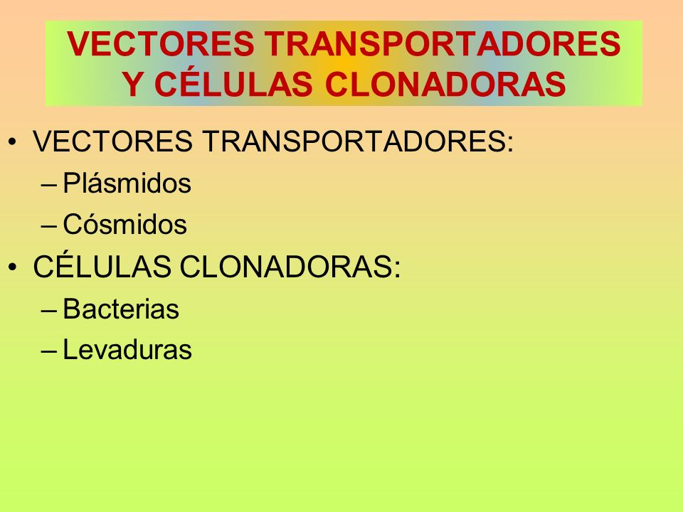 VECTORES TRANSPORTADORES Y CÉLULAS CLONADORAS