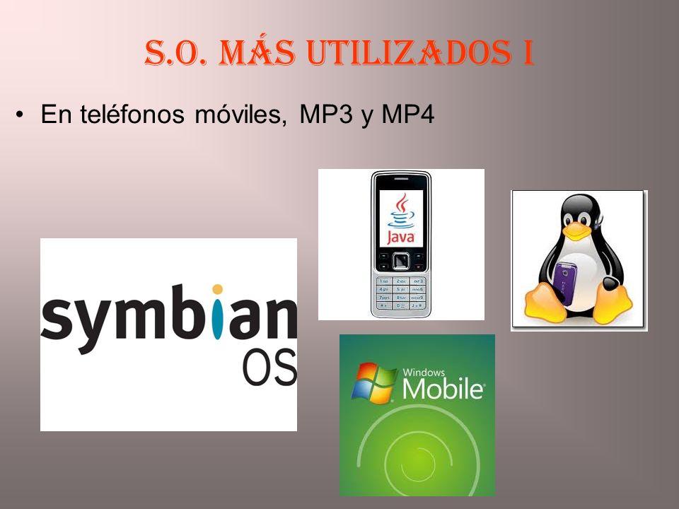 S.O. más utilizados I En teléfonos móviles, MP3 y MP4