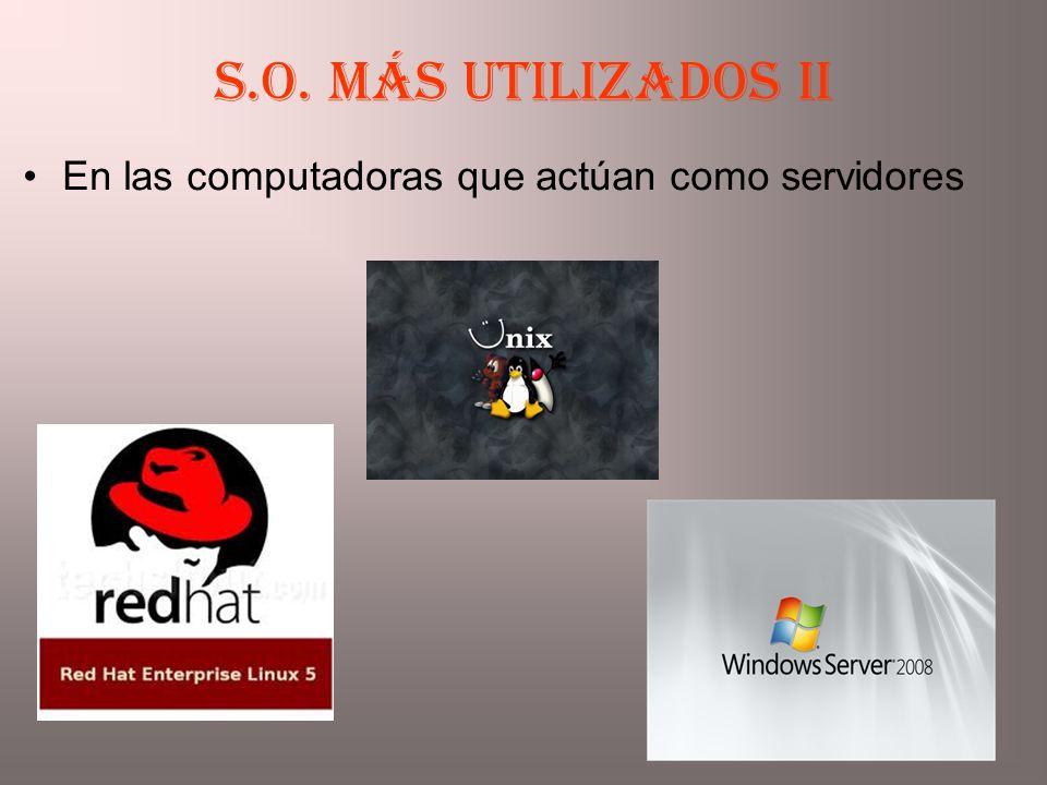 S.O. más utilizados II En las computadoras que actúan como servidores
