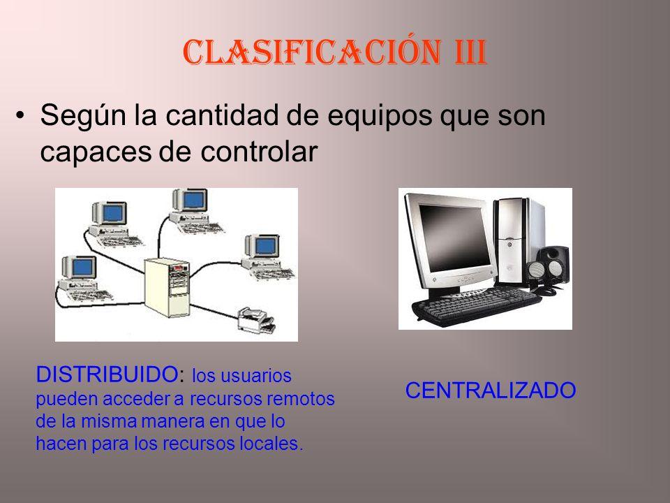 Clasificación iiI Según la cantidad de equipos que son capaces de controlar.