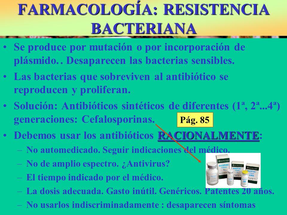 FARMACOLOGÍA: RESISTENCIA BACTERIANA