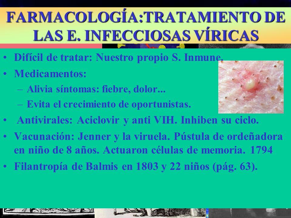 FARMACOLOGÍA:TRATAMIENTO DE LAS E. INFECCIOSAS VÍRICAS