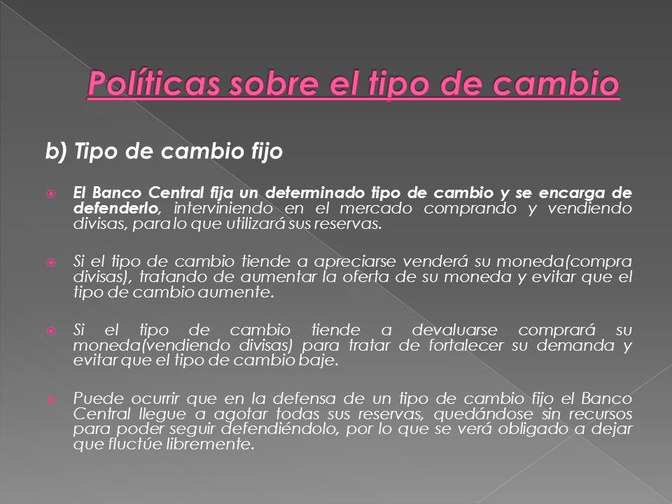 Políticas sobre el tipo de cambio