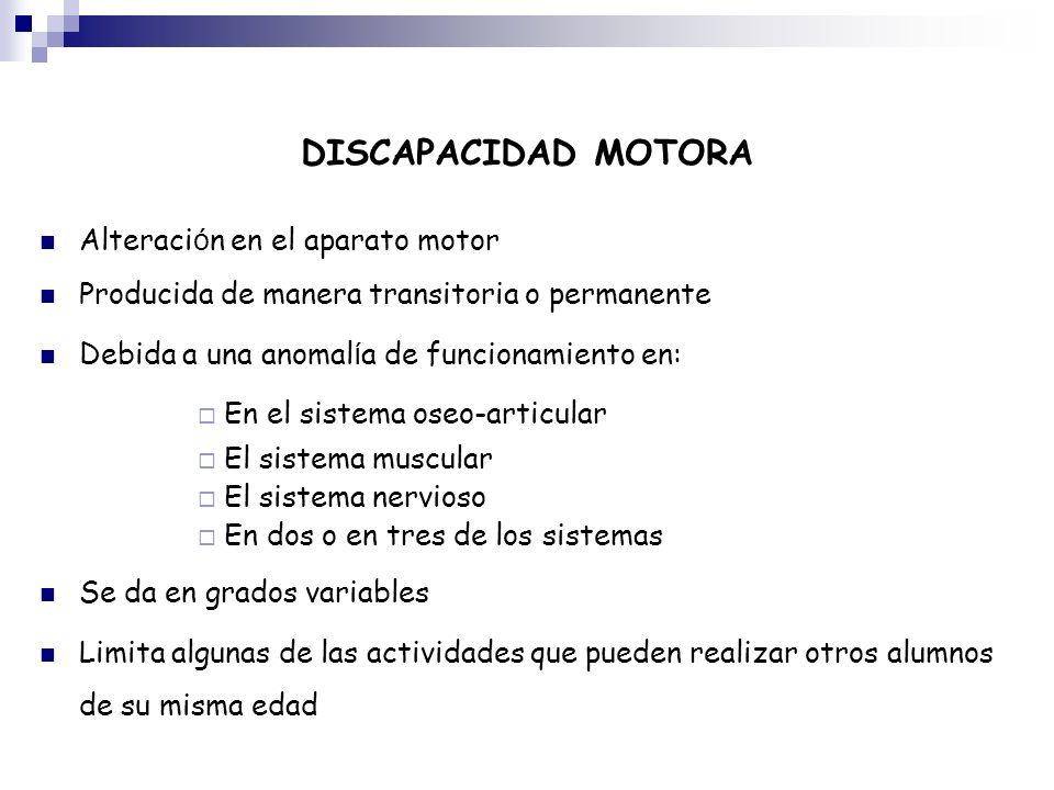 DISCAPACIDAD MOTORA Alteración en el aparato motor