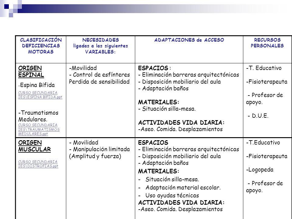 ligadas a las siguientes VARIABLES: ADAPTACIONES de ACCESO
