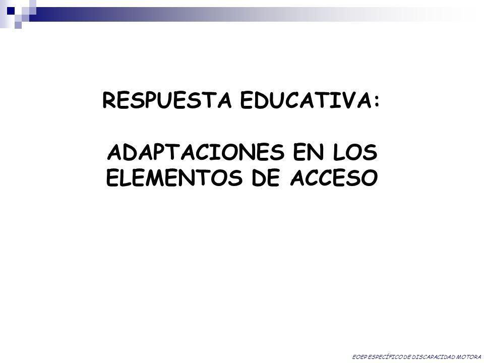 RESPUESTA EDUCATIVA: ADAPTACIONES EN LOS ELEMENTOS DE ACCESO