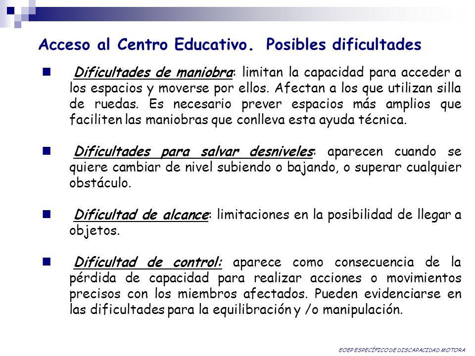 Acceso al Centro Educativo. Posibles dificultades