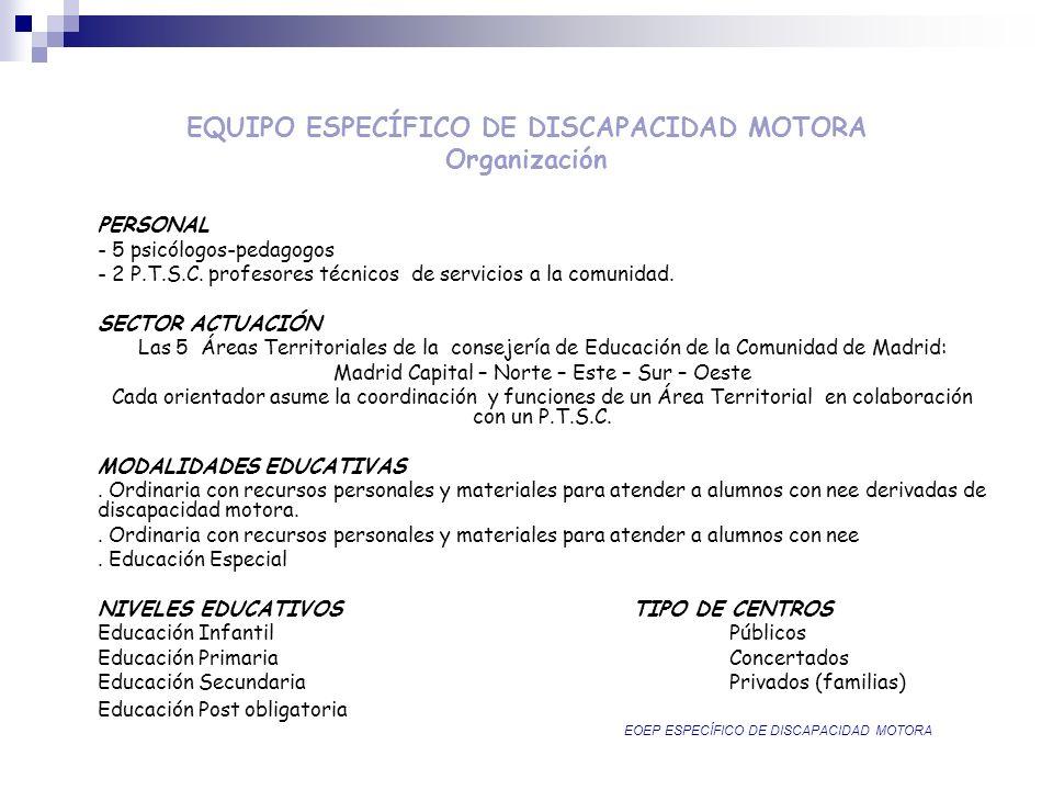 EQUIPO ESPECÍFICO DE DISCAPACIDAD MOTORA Organización