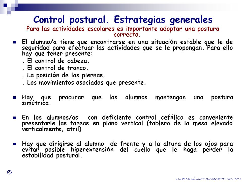 Control postural. Estrategias generales