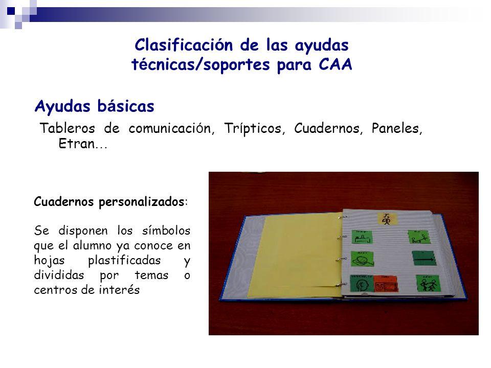 Clasificación de las ayudas técnicas/soportes para CAA