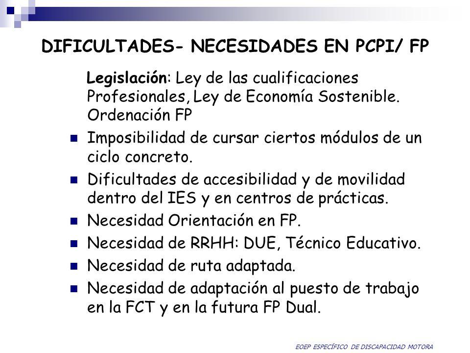 DIFICULTADES- NECESIDADES EN PCPI/ FP