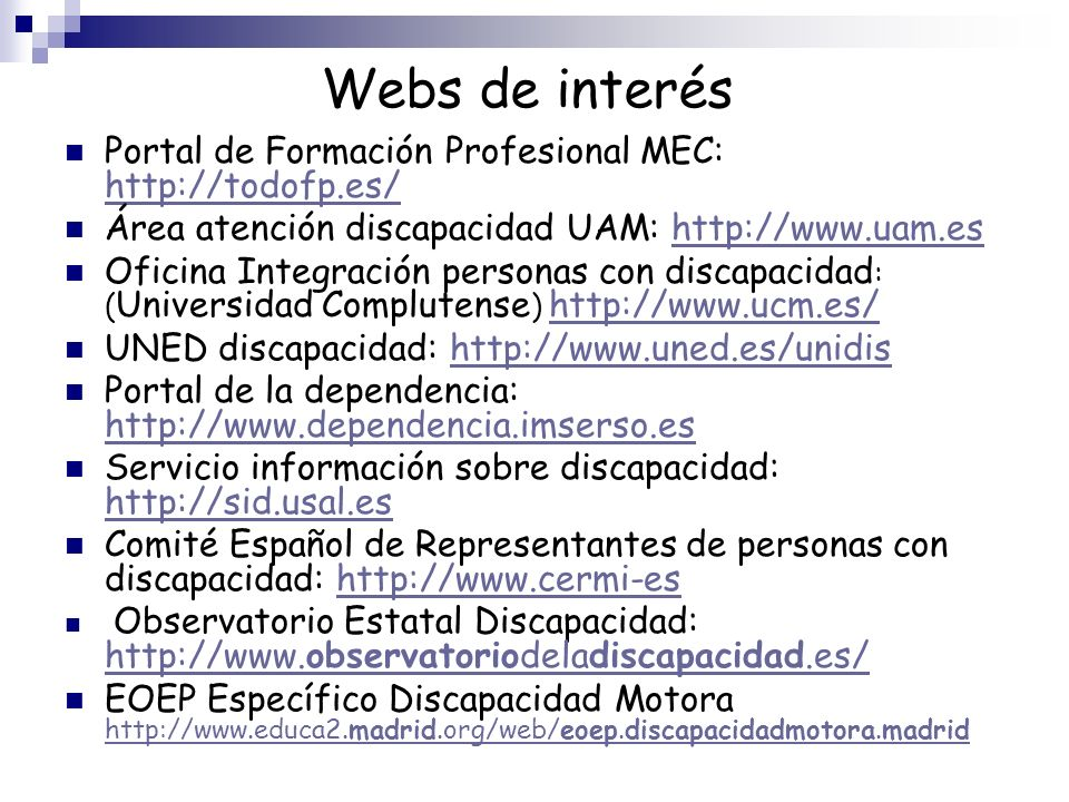 Webs de interés Portal de Formación Profesional MEC: http://todofp.es/