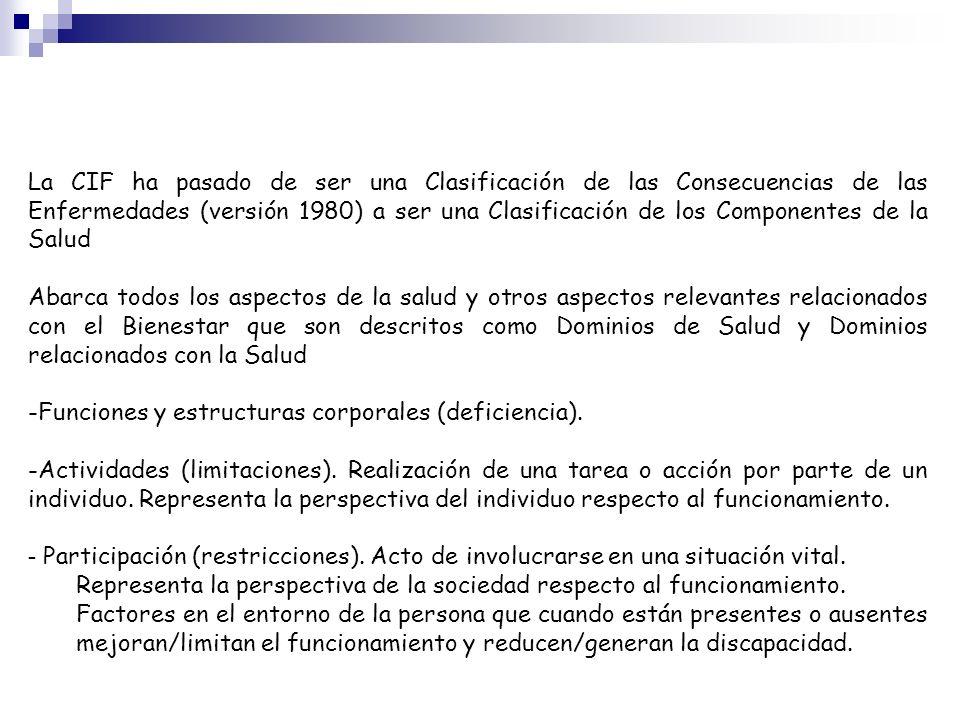 La CIF ha pasado de ser una Clasificación de las Consecuencias de las Enfermedades (versión 1980) a ser una Clasificación de los Componentes de la Salud