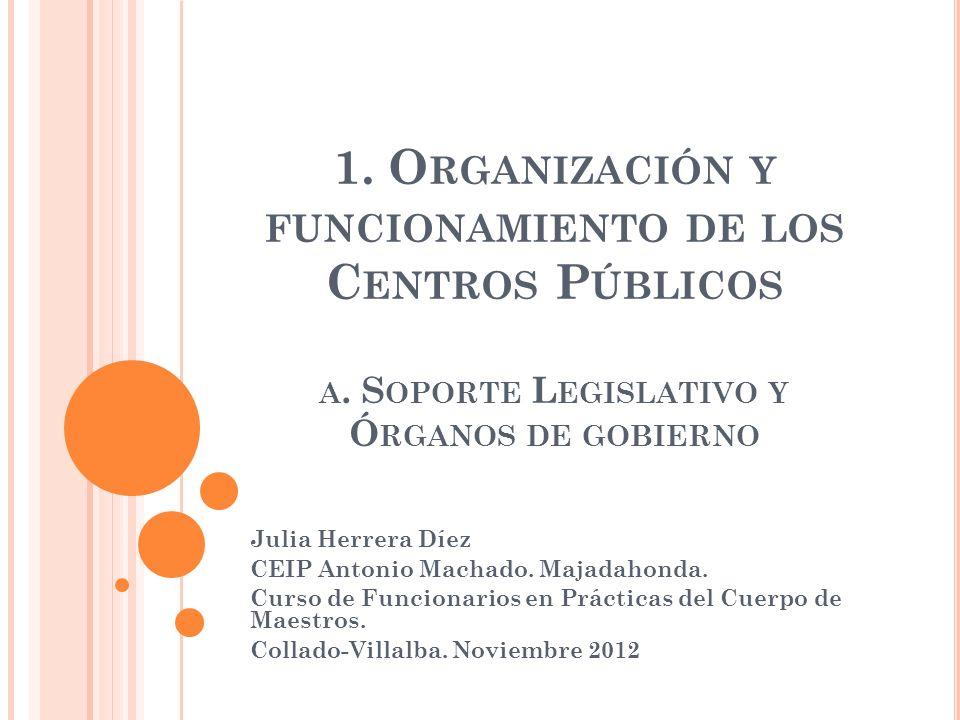 1. Organización y funcionamiento de los Centros Públicos a
