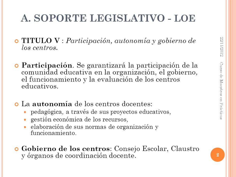 A. SOPORTE LEGISLATIVO - loe