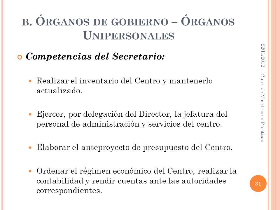 b. Órganos de gobierno – Órganos Unipersonales