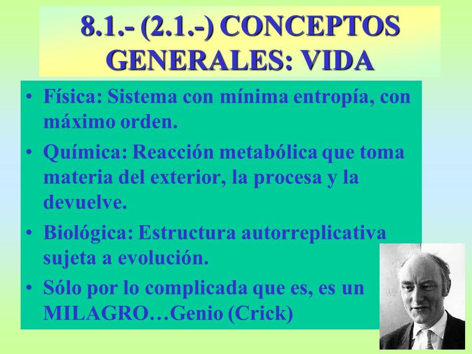 8.1.- (2.1.-) CONCEPTOS GENERALES: VIDA