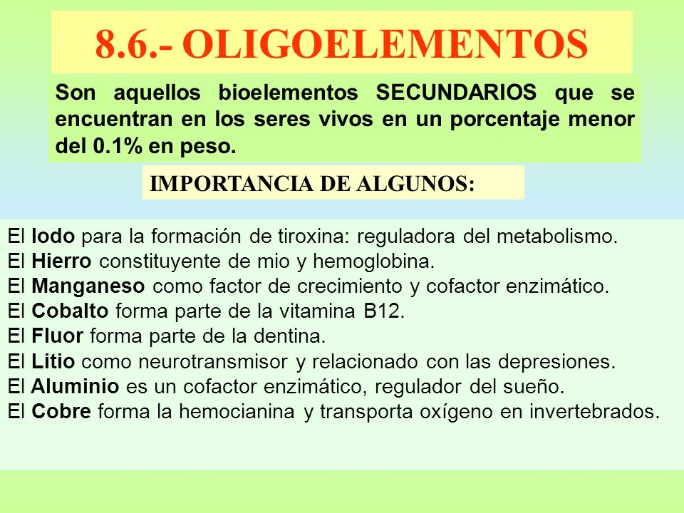 8.6.- OLIGOELEMENTOS IMPORTANCIA DE ALGUNOS: