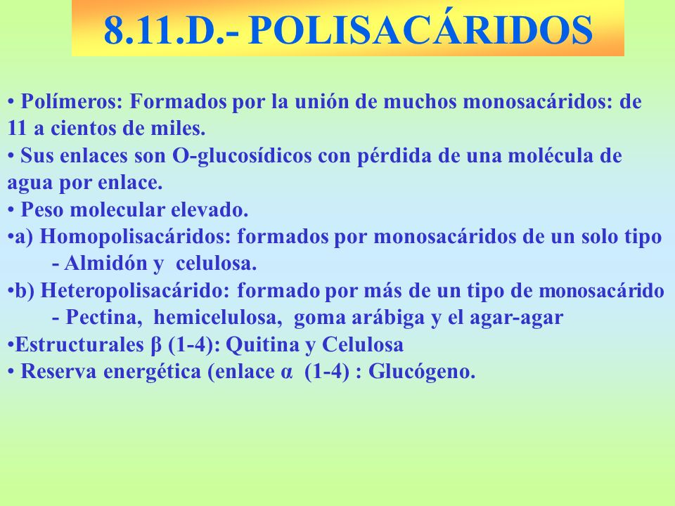 8.11.D.- POLISACÁRIDOS Polímeros: Formados por la unión de muchos monosacáridos: de 11 a cientos de miles.
