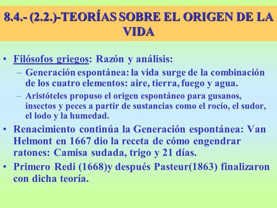 8.4.- (2.2.)-TEORÍAS SOBRE EL ORIGEN DE LA VIDA