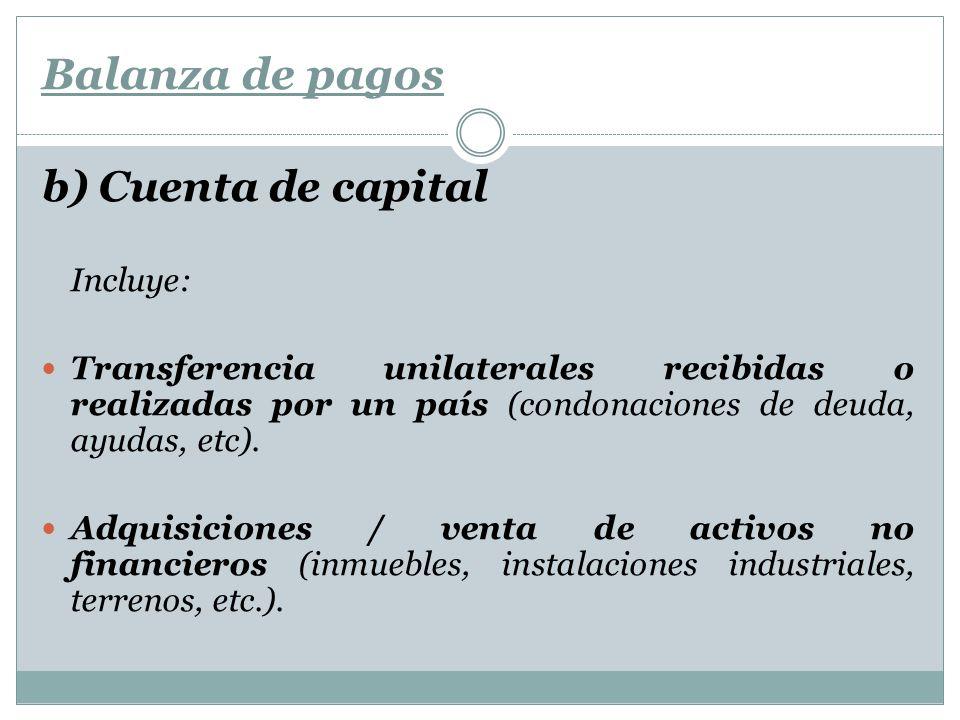Balanza de pagos b) Cuenta de capital Incluye: