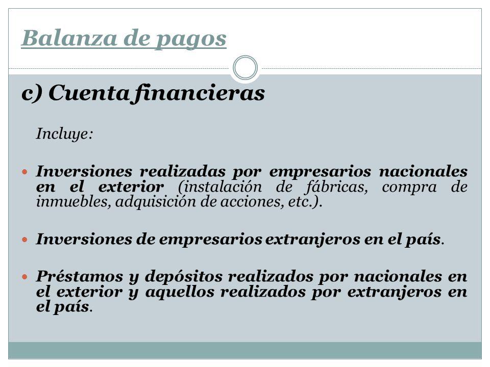 Balanza de pagos c) Cuenta financieras Incluye: