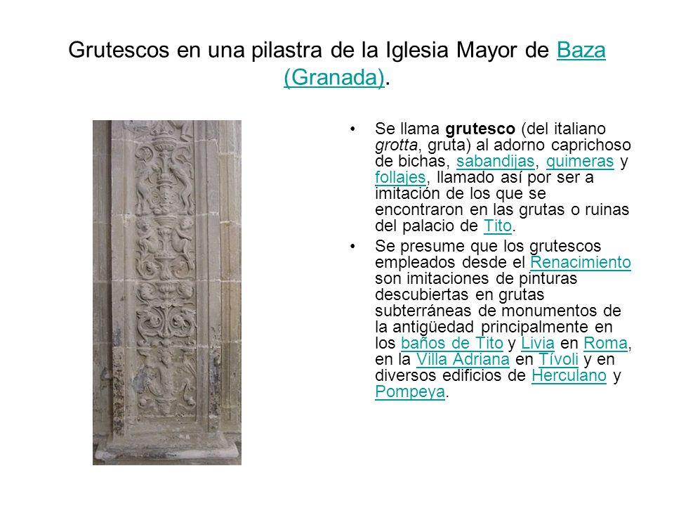 Grutescos en una pilastra de la Iglesia Mayor de Baza (Granada).