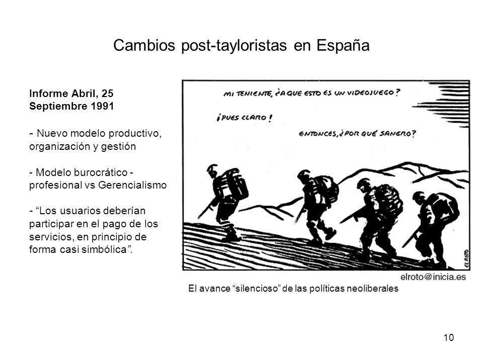 Cambios post-tayloristas en España
