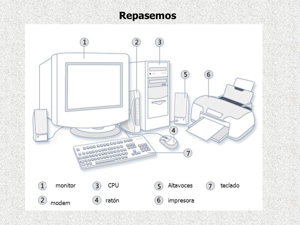 Repasemos monitor CPU Altavoces teclado ratón impresora modem