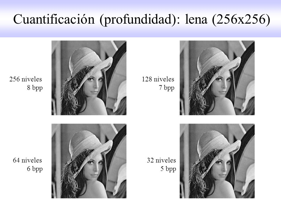 Cuantificación (profundidad): lena (256x256)
