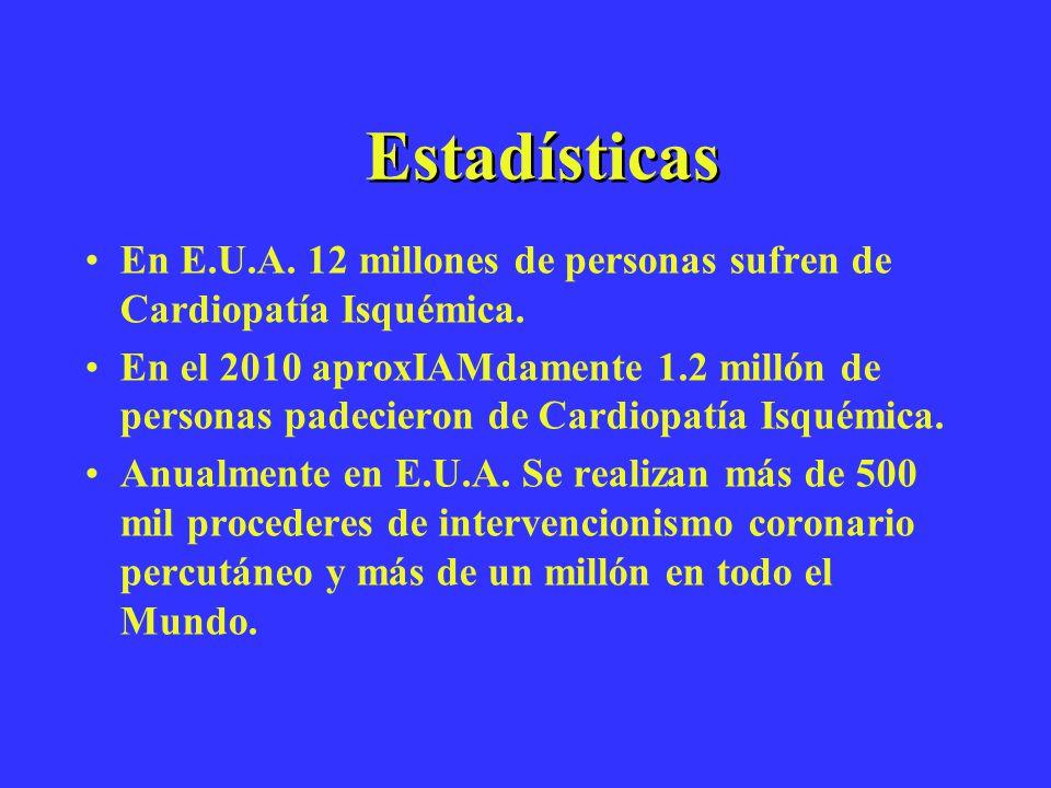 Estadísticas En E.U.A. 12 millones de personas sufren de Cardiopatía Isquémica.